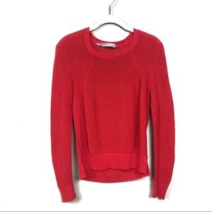 Athleta Sweaters - Athleta red mesh pullover sweater medium